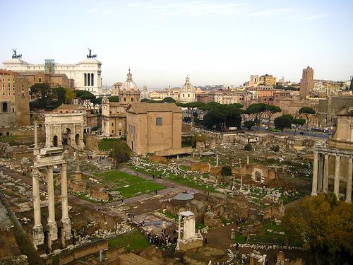 Roman Forum (Foro Romano) from Palantine Hill, photo by Brian Jeffery Beggerly