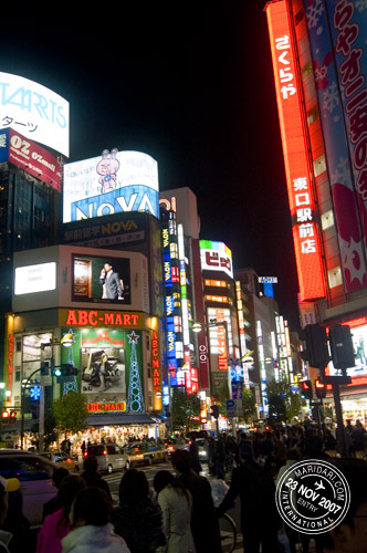 Neon lights in busy Shinjuku