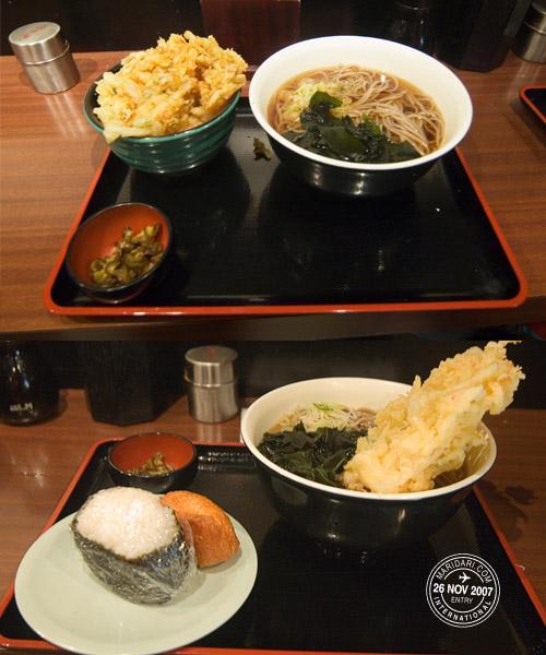 Big Akiba lunch - Kake soba, kakiage don, tempura, onigiri, inari-zushi