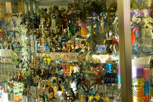Akihabara toys and collectibles on display