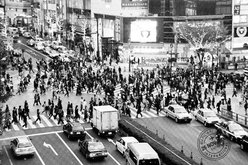 Busy Shibuya crossing, aerial view