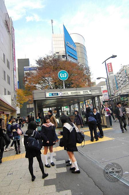 Shibuya station, Japanese schoolgirls